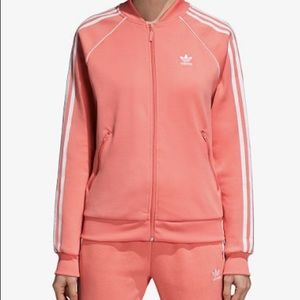 Adidas Originals Three-Stripe Track Jacket in Rose